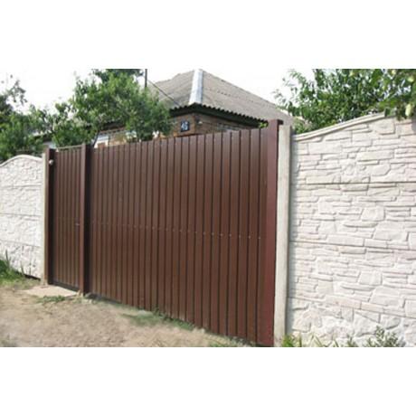 Ворота профлист с калиткой рядом - 2м х 4м