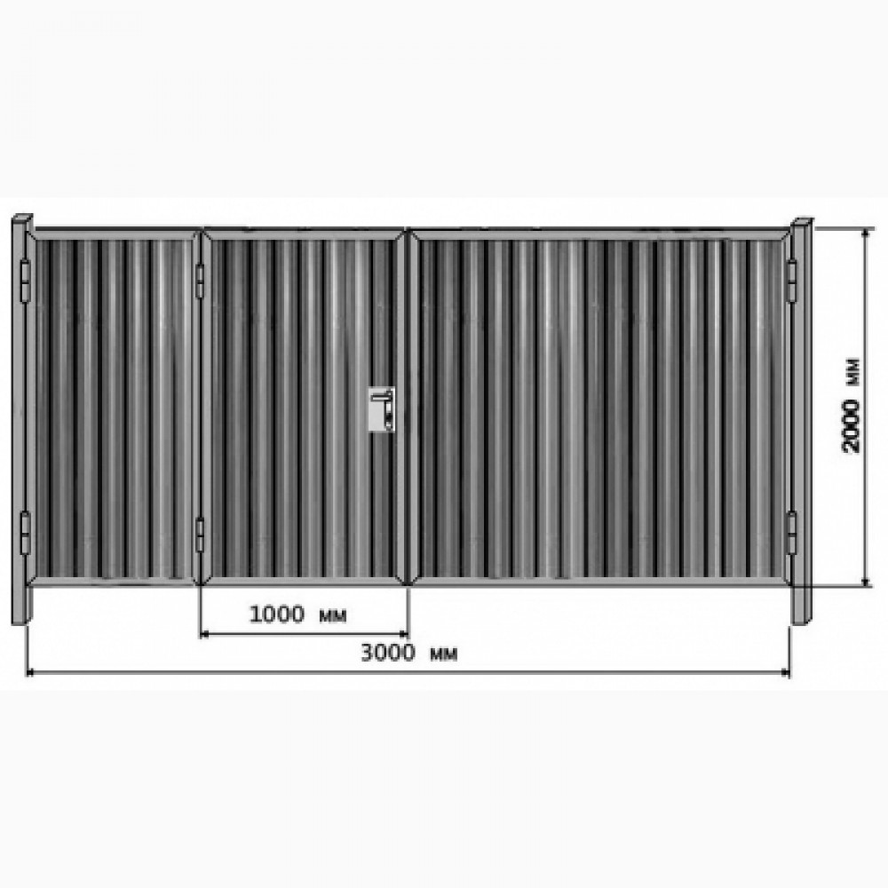Ворота профлист с калиткой внутри - 2мх3м